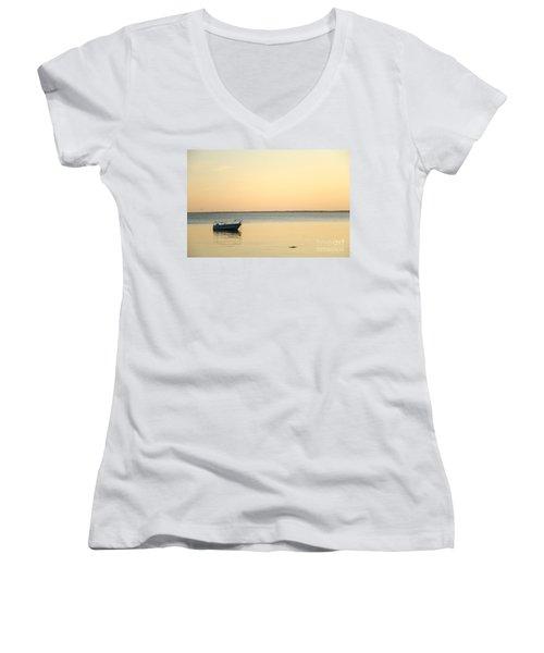 Women's V-Neck T-Shirt (Junior Cut) featuring the photograph Anchored  by Kennerth and Birgitta Kullman