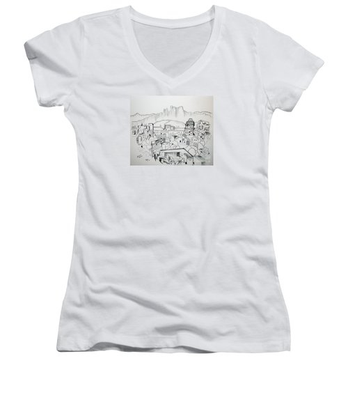 Women's V-Neck T-Shirt (Junior Cut) featuring the drawing Ancient City In Pen And Ink by Janice Rae Pariza