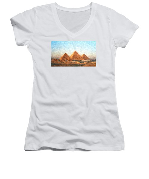 Ancient Egypt The Pyramids At Giza Women's V-Neck T-Shirt (Junior Cut) by Gianfranco Weiss