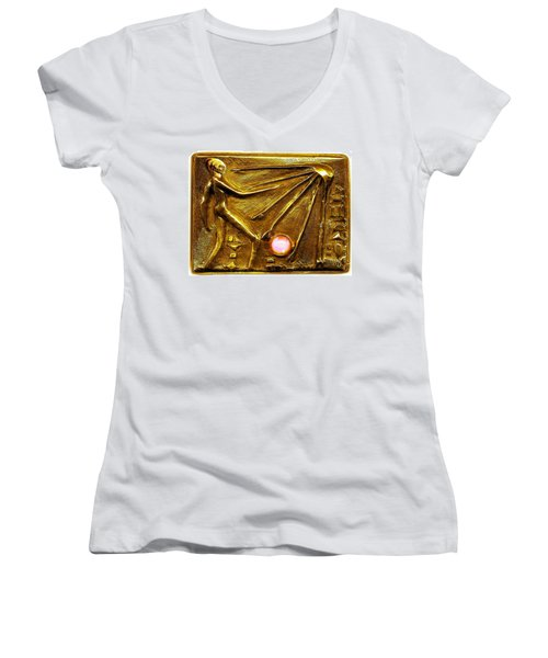 Women's V-Neck T-Shirt (Junior Cut) featuring the relief Sun God Worship  by Hartmut Jager