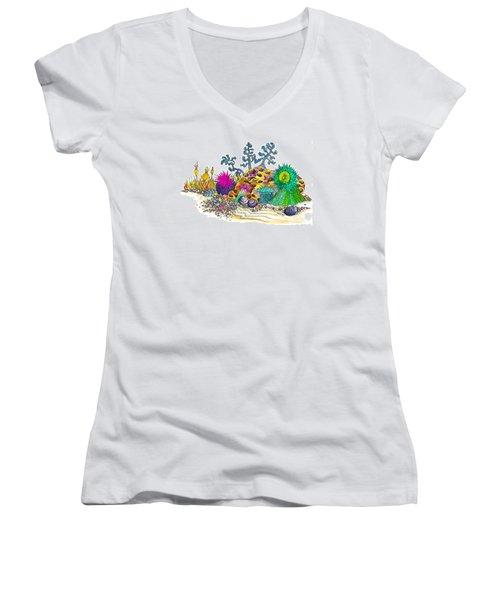 Anemone Garden Women's V-Neck T-Shirt (Junior Cut) by Adria Trail