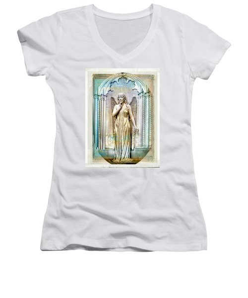Angel Of Silence.genoa Women's V-Neck (Athletic Fit)