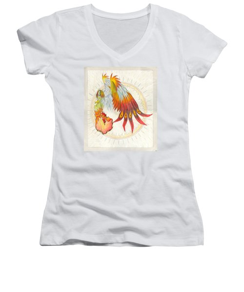 Angel Phoenix Women's V-Neck T-Shirt (Junior Cut) by Shawn Dall