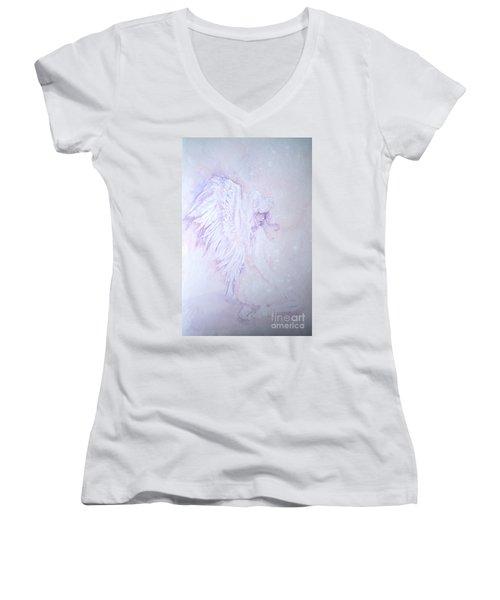 Women's V-Neck T-Shirt (Junior Cut) featuring the painting Angel by Sandra Phryce-Jones