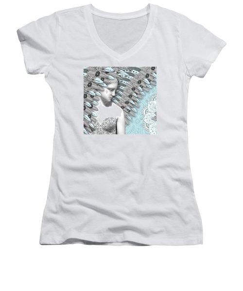 Angelica Hiberna - Angel Of Winter Women's V-Neck T-Shirt (Junior Cut) by Christopher Beikmann