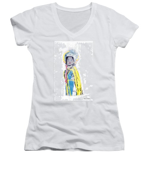Another Time Monoprint Women's V-Neck T-Shirt (Junior Cut) by Verana Stark