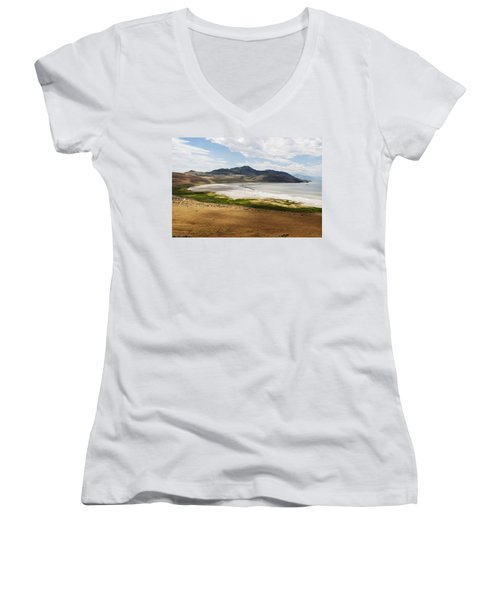 Women's V-Neck T-Shirt (Junior Cut) featuring the photograph Antelope Island by Belinda Greb