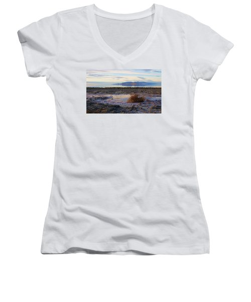 Women's V-Neck T-Shirt (Junior Cut) featuring the photograph Antelope Island - Tumble Weed by Ely Arsha