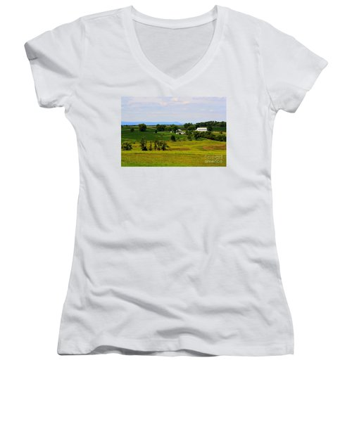 Antietam Battlefield And Mumma Farm Women's V-Neck T-Shirt