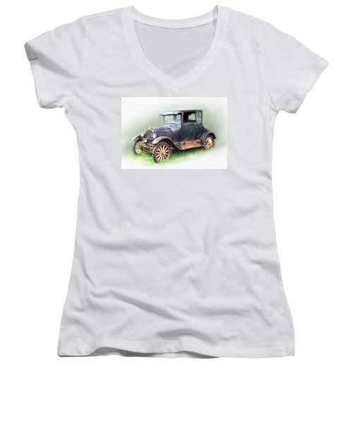 Women's V-Neck T-Shirt (Junior Cut) featuring the painting Antique Car by Bonnie Willis