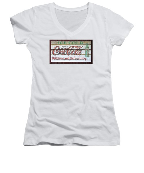 Antique Coca Cola Sign  Women's V-Neck T-Shirt