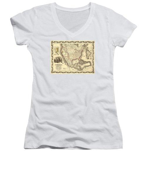 Antique North America Map Women's V-Neck