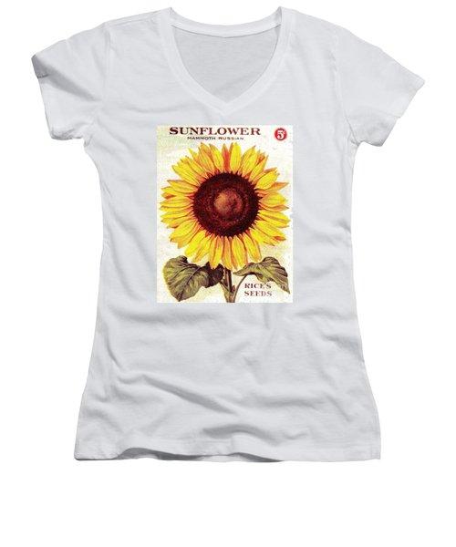 Antique Sunflower Seeds Pack Women's V-Neck (Athletic Fit)