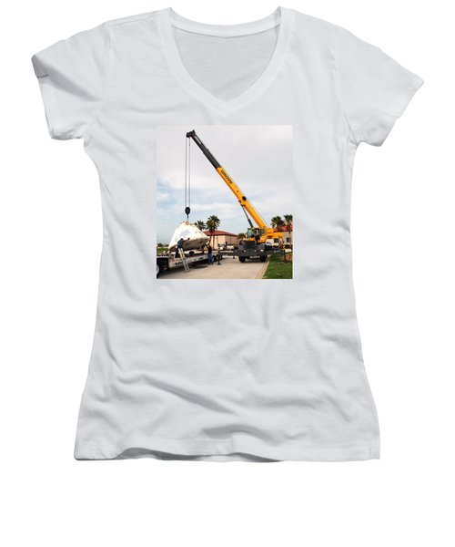 Women's V-Neck T-Shirt (Junior Cut) featuring the photograph Apollo Capsule Going In For Repairs by Science Source