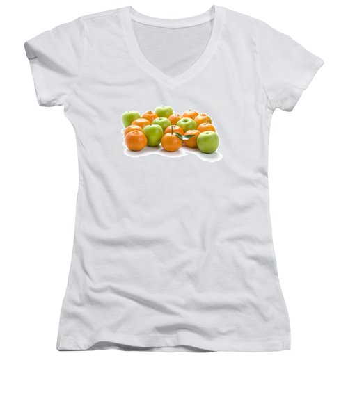 Women's V-Neck T-Shirt (Junior Cut) featuring the photograph Apples And Oranges by Lee Avison