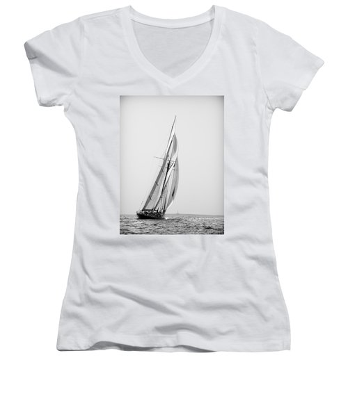 A Tall Ship In Mediterranean Water Approaching To Lighthouse Of Isla Del Aire - Menorca Women's V-Neck T-Shirt