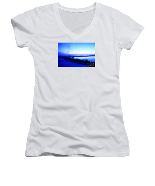 Women's V-Neck T-Shirt (Junior Cut) featuring the photograph Swamis Aqua Reef  by John F Tsumas