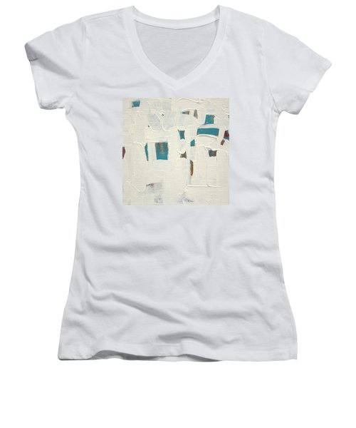 Women's V-Neck T-Shirt (Junior Cut) featuring the painting Aqueous  C2013 by Paul Ashby