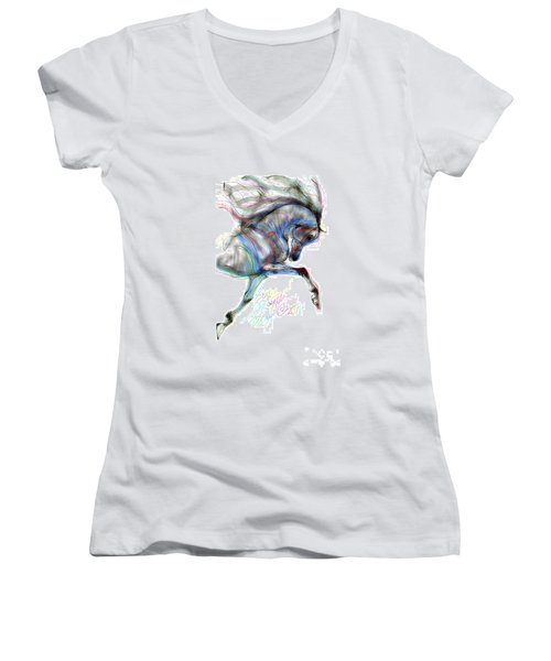 Arabian Horse Trotting In Air Women's V-Neck T-Shirt