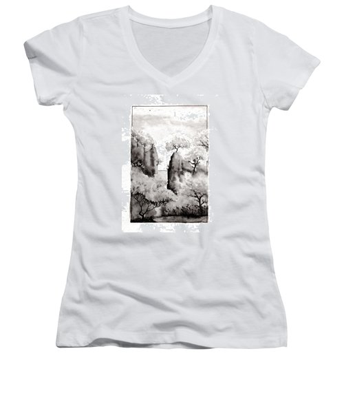 Arbres Separes Women's V-Neck T-Shirt (Junior Cut) by Marc Philippe Joly