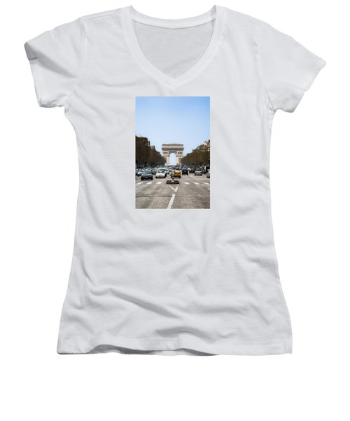 Arch Of Triumph In Paris Women's V-Neck T-Shirt