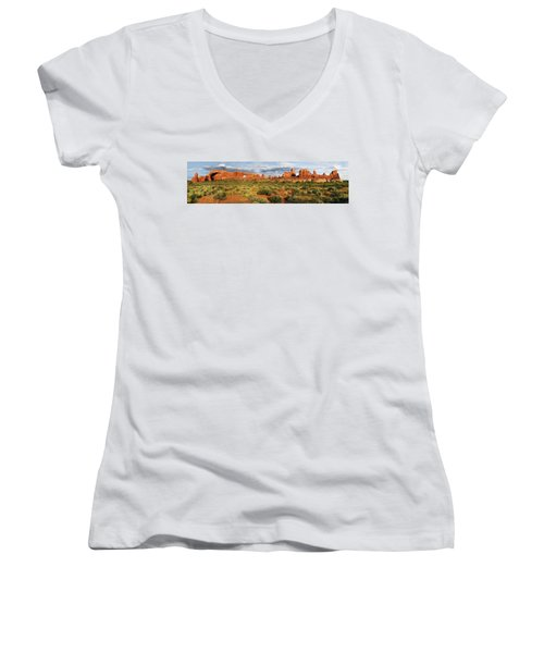 Arches National Park Panorama Women's V-Neck T-Shirt (Junior Cut) by Dave Mills