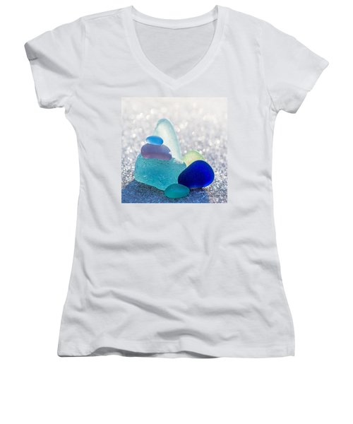 Arctic Peaks Women's V-Neck T-Shirt (Junior Cut) by Barbara McMahon