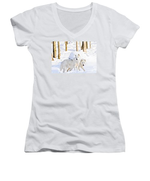 Arctic Wolves Women's V-Neck T-Shirt (Junior Cut) by Cheryl Baxter