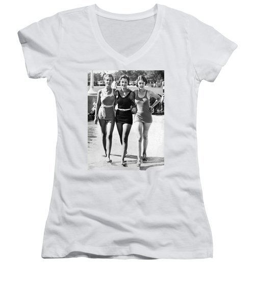 Army Bathing Suit Trio Women's V-Neck T-Shirt (Junior Cut) by Underwood Archives