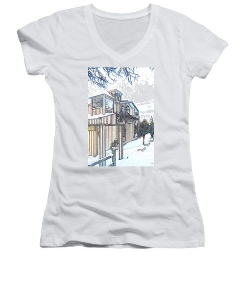 Arp Clockhouse Across From Mamasitas In Bennet Nebraska Women's V-Neck T-Shirt