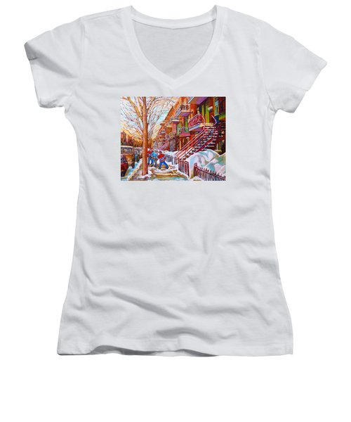 Art Of Montreal Staircases In Winter Street Hockey Game City Streetscenes By Carole Spandau Women's V-Neck