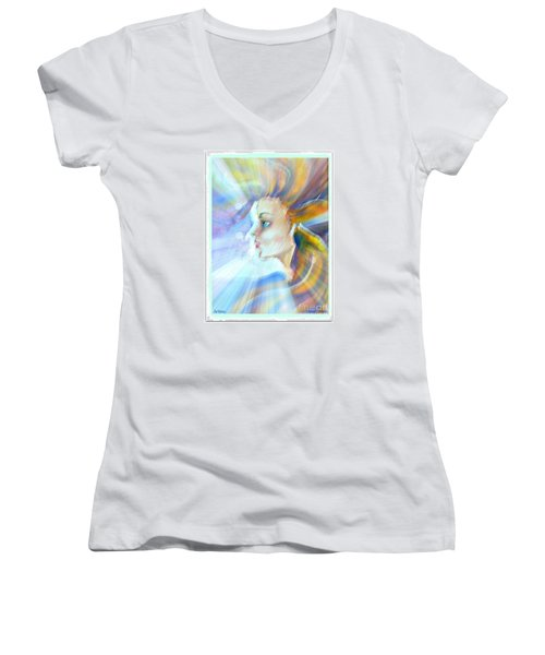 Women's V-Neck T-Shirt (Junior Cut) featuring the painting Artemis by Leanne Seymour