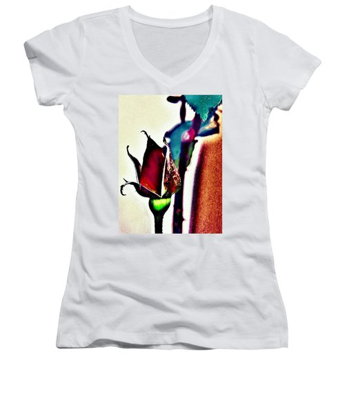 Women's V-Neck T-Shirt (Junior Cut) featuring the photograph Artful Bud by Faith Williams