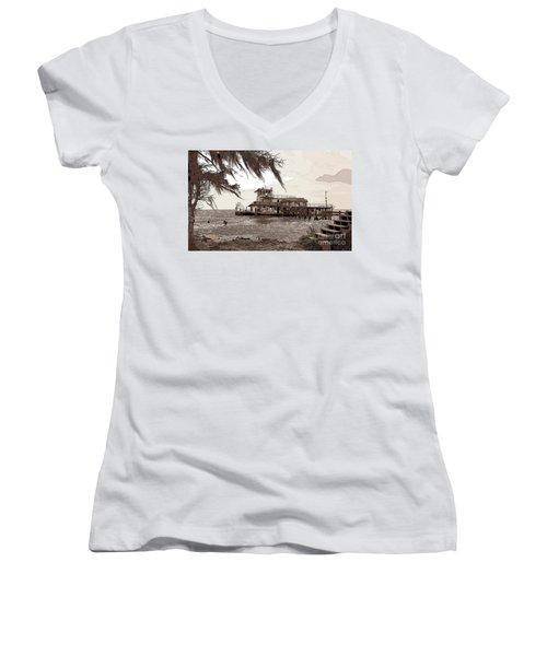 Tugboat From Louisiana Katrina Women's V-Neck T-Shirt (Junior Cut) by Luana K Perez