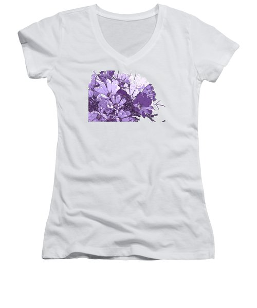 Women's V-Neck T-Shirt (Junior Cut) featuring the photograph Artsy Purple Cosmos by Sandra Foster
