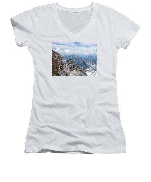 Women's V-Neck T-Shirt (Junior Cut) featuring the photograph As The Crow Flies by Pema Hou