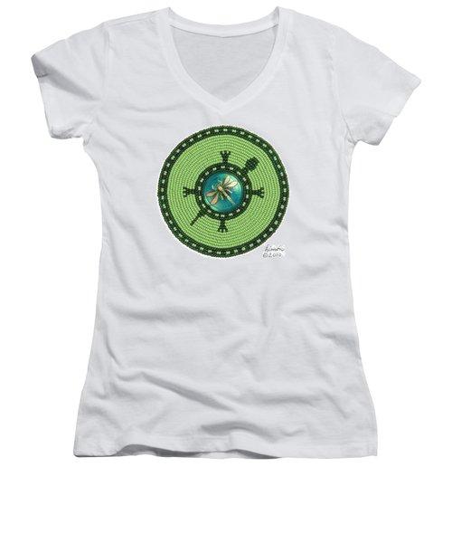 Ashlee's Dragonfly Turtle Women's V-Neck