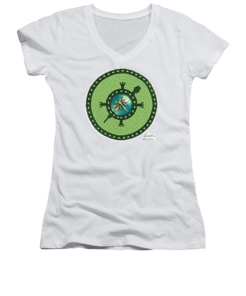 Ashlee's Dragonfly Turtle Women's V-Neck
