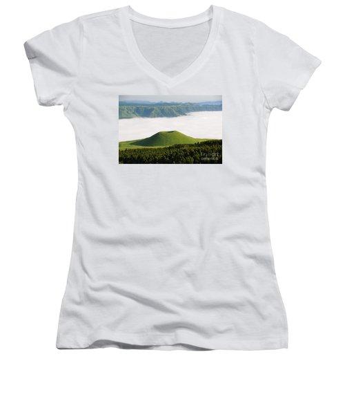 Women's V-Neck T-Shirt (Junior Cut) featuring the photograph Aso Komezuka Sea Of Clouds Cloud Kumamoto Japan by Paul Fearn