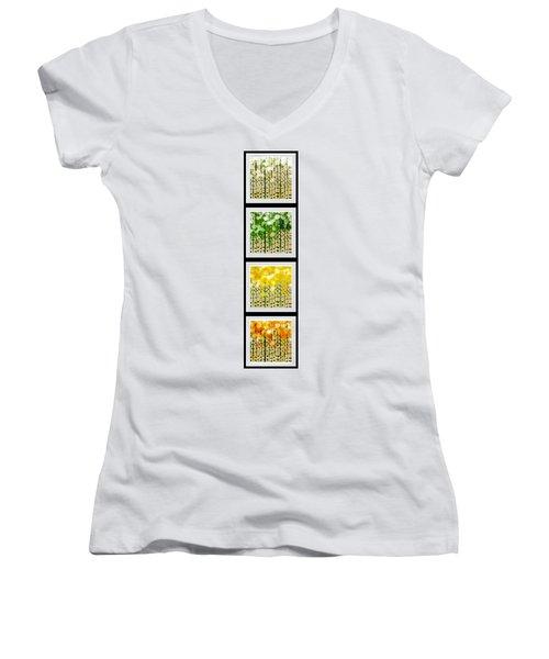 Aspen Colorado Abstract Vertical 4 In 1 Collection Women's V-Neck T-Shirt