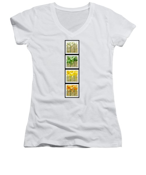 Aspen Colorado Abstract Vertical 4 In 1 Collection Women's V-Neck