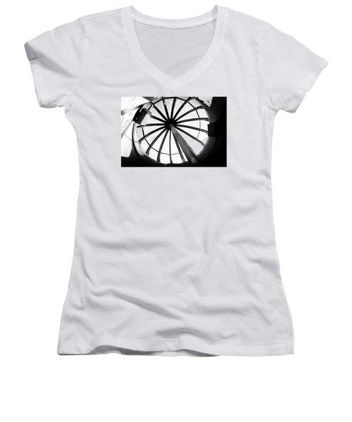 Oregon Women's V-Neck T-Shirt (Junior Cut) featuring the photograph Astoria Column Dome by Aaron Berg