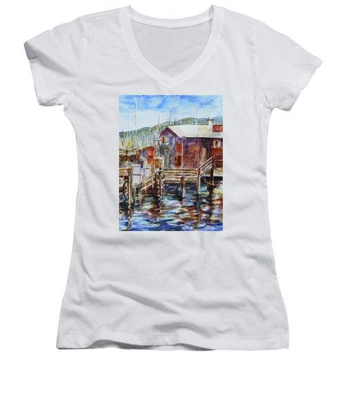 At Monterey Wharf Ca Women's V-Neck T-Shirt