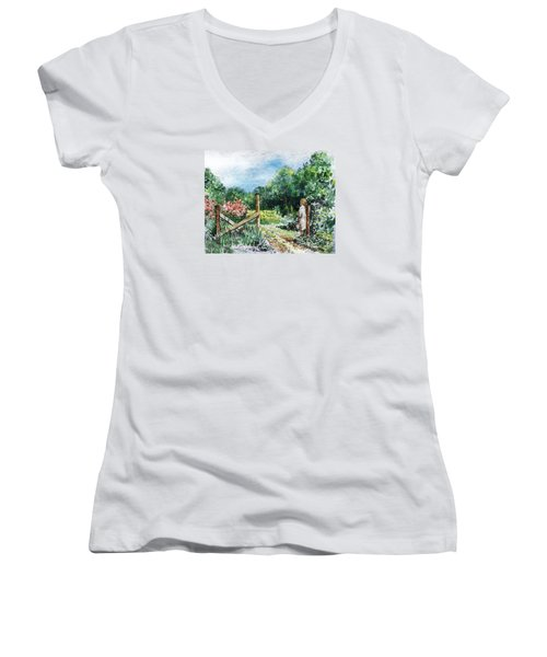 Women's V-Neck T-Shirt featuring the painting At The Gate Summer Landscape by Irina Sztukowski