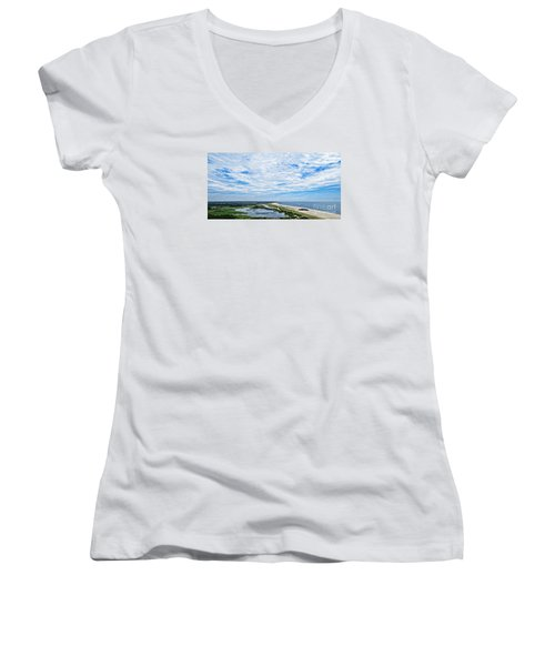 At The Top Of The Lighthouse Women's V-Neck T-Shirt
