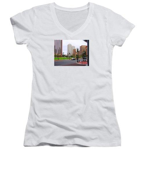 Atlantic Avenue Women's V-Neck T-Shirt (Junior Cut) by Oleg Zavarzin