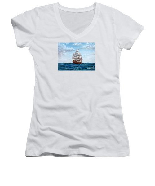 Women's V-Neck T-Shirt (Junior Cut) featuring the painting Atlantic Crossing  by Lee Piper