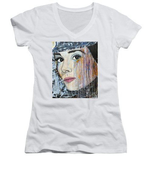 Women's V-Neck T-Shirt (Junior Cut) featuring the painting Audrey Hepburn-abstract by Ismeta Gruenwald