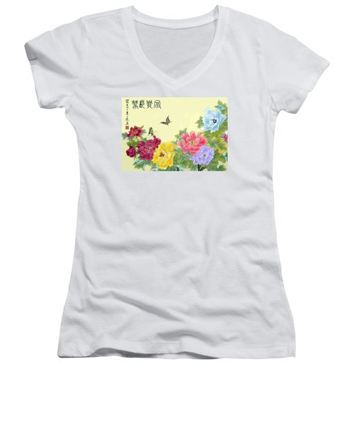 Auspicious Spring Women's V-Neck T-Shirt (Junior Cut) by Yufeng Wang