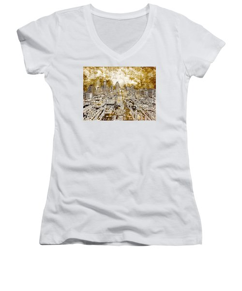 Austin Texas Abstract Panorama 6 Women's V-Neck T-Shirt (Junior Cut) by Bekim Art